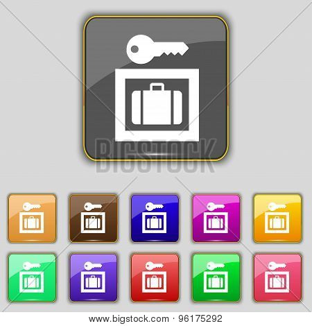 Luggage Storage Icon Sign. Set With Eleven Colored Buttons For Your Site. Vector