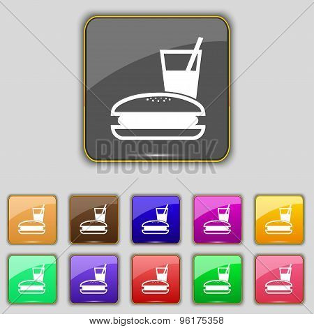 Lunch Box Icon Sign. Set With Eleven Colored Buttons For Your Site. Vector