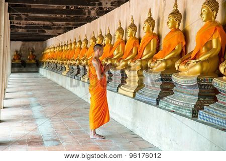 Monks At Temple In Ayutthaya, Thailand.