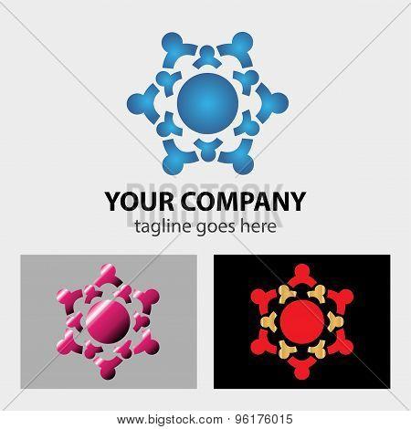 Teamwork logo template. Teamwork logo design vector template