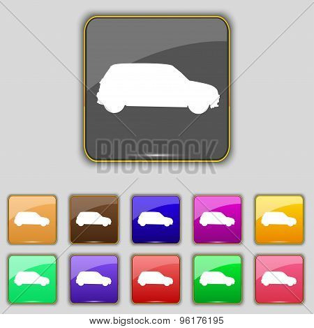 Jeep Icon Sign. Set With Eleven Colored Buttons For Your Site. Vector