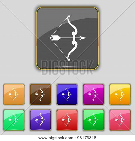 Bow And Arrow Icon Sign. Set With Eleven Colored Buttons For Your Site. Vector