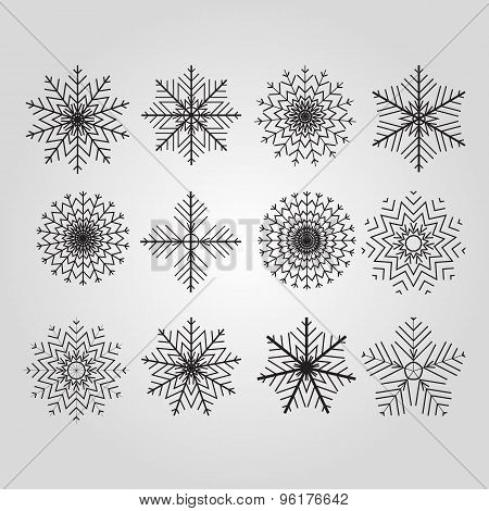Set of 12 vector abstract snowflakes