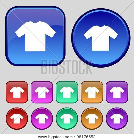 T-shirt Icon Sign. A Set Of Twelve Vintage Buttons For Your Design. Vector