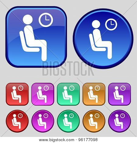 Waiting Icon Sign. A Set Of Twelve Vintage Buttons For Your Design. Vector