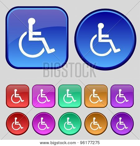 Disabled Icon Sign. A Set Of Twelve Vintage Buttons For Your Design. Vector