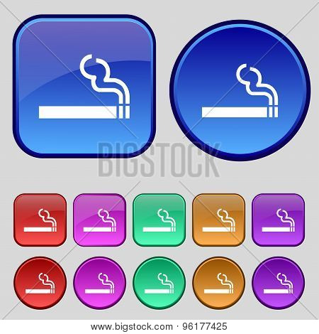 Cigarette Smoke Icon Sign. A Set Of Twelve Vintage Buttons For Your Design. Vector