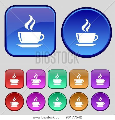 Tea, Coffee Icon Sign. A Set Of Twelve Vintage Buttons For Your Design. Vector