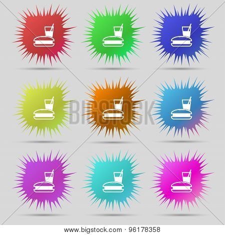 Lunch Box Icon Sign. A Set Of Nine Original Needle Buttons. Vector