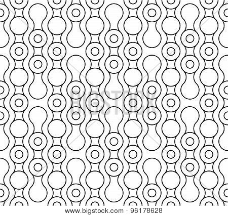 Black And White Geometric Seamless Pattern With Circle And Wave Line, Abstract Background.
