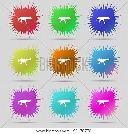 Machine Gun Icon Sign. A Set Of Nine Original Needle Buttons. Vector