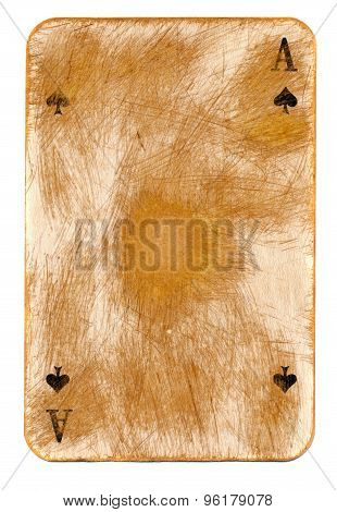 Vintage Used Playing Card Paper Background With Ace Signs
