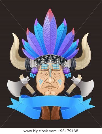 Illustration of the Indian chief with a tomahawk.