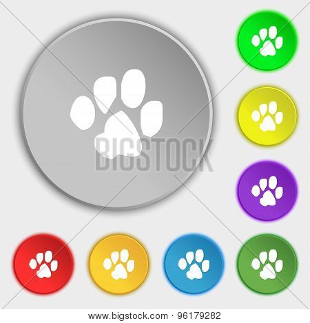Trace Dogs Icon Sign. Symbol On Five Flat Buttons. Vector