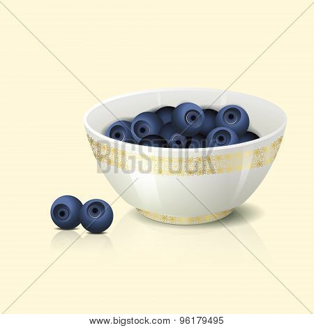 White Bowl With Blueberries Shadow And Reflection