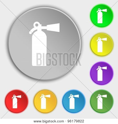 Extinguisher Icon Sign. Symbol On Five Flat Buttons. Vector