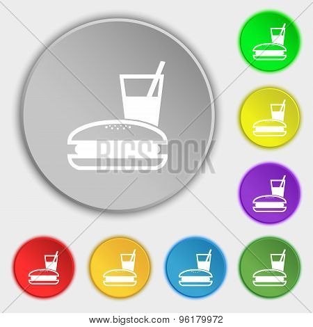 Lunch Box Icon Sign. Symbol On Five Flat Buttons. Vector