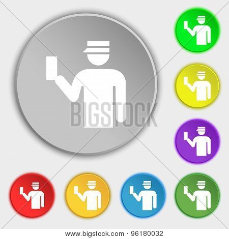Inspector Icon Sign. Symbol On Five Flat Buttons. Vector