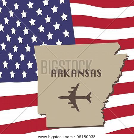 Arkansas Air Travel Vector Concept. National USA Flag on Background.