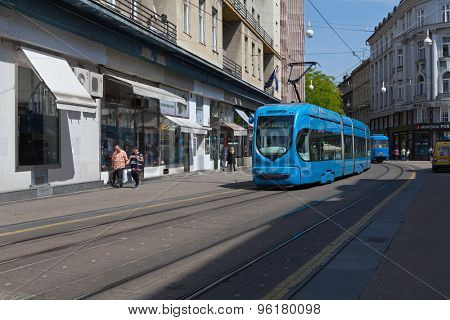 ZAGREB, CROATIA - MAY 13, 2015: Tram coming from the Jurisiceva street to Ban Jelacic Square
