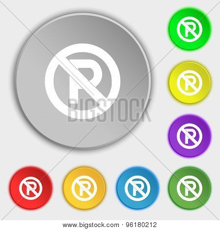 No Parking Icon Sign. Symbol On Five Flat Buttons. Vector