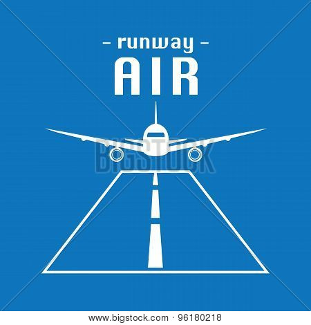 Vector Modern Minimalistic Airplane Logo. Runway Background.