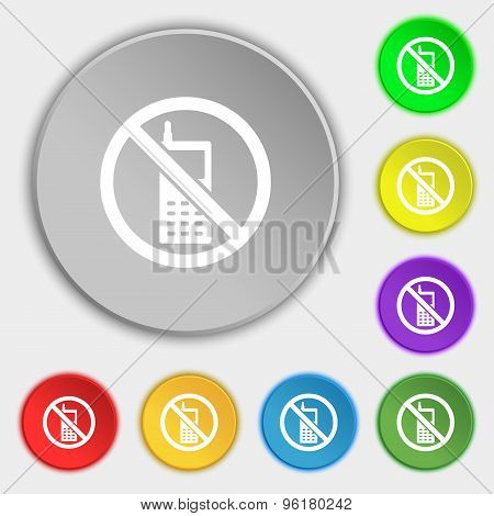 Mobile Phone Is Prohibited Icon Sign. Symbol On Five Flat Buttons. Vector