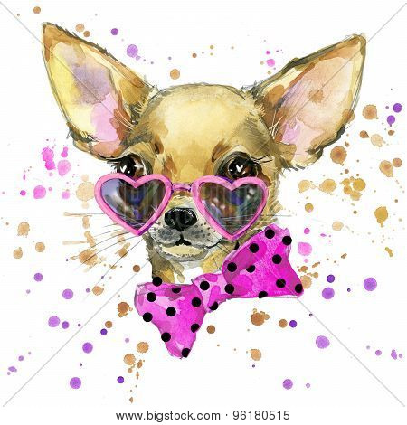 dog fashion T-shirt graphics. dog illustration with splash watercolor textured  background. unusual
