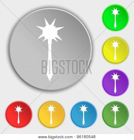 Mace Icon Sign. Symbol On Five Flat Buttons. Vector