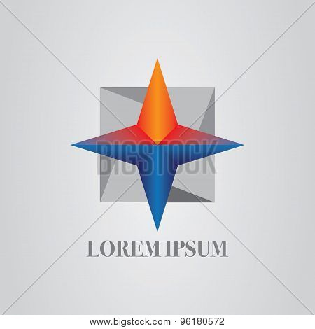 Business Abstract Compass Origami Style Icon. Corporate, Media, Technology Vector Logo Design Templa