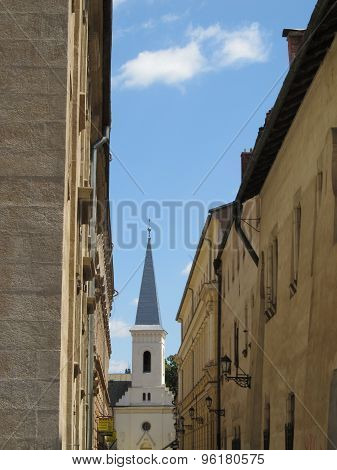 Alley with church