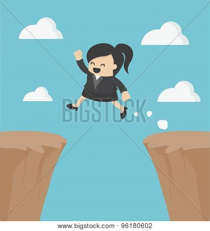 Business Woman Jumping Over The Cliff