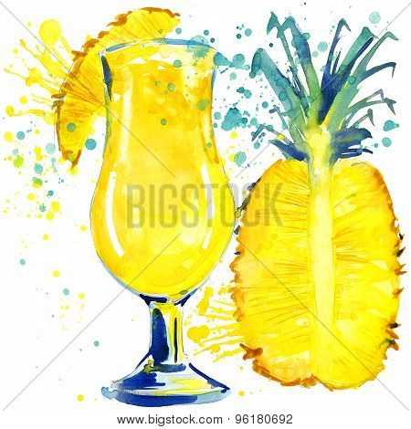 cocktail fruit, ice and a splash. Hand drawn watercolor illustration