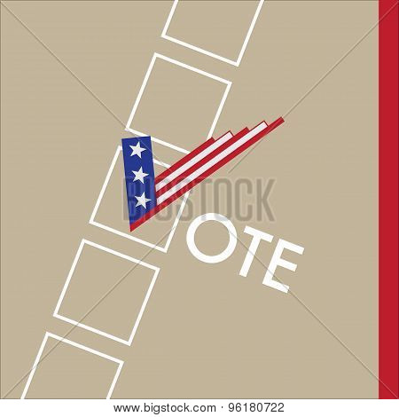 Vote Sign As Usa Flag With Checkbox. Presidential Election Vector Design.