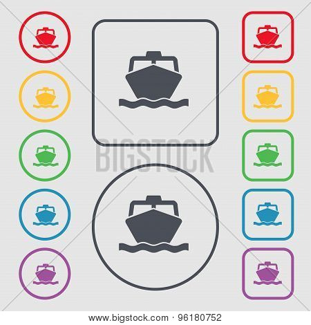 The Boat Icon Sign. Symbol On The Round And Square Buttons With Frame. Vector