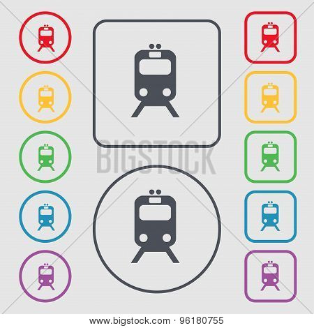 Train Icon Sign. Symbol On The Round And Square Buttons With Frame. Vector