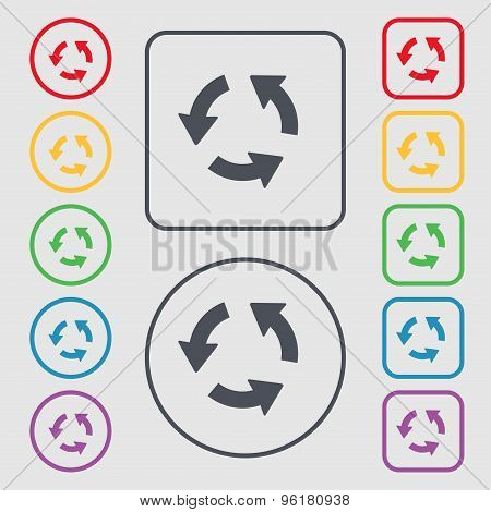Refresh Icon Sign. Symbol On The Round And Square Buttons With Frame. Vector