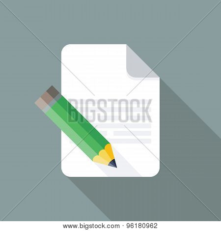 Edit Icon. Flat Vector Icon With Long Shadow Design Collection.