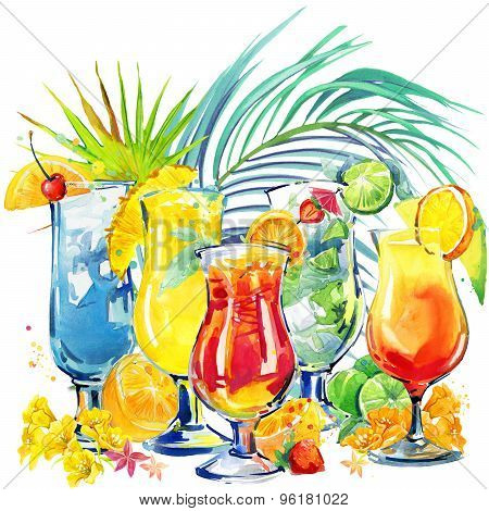 colorful cocktail. Hand drawn watercolor illustration of cocktail fruit and tropical leaves backgrou