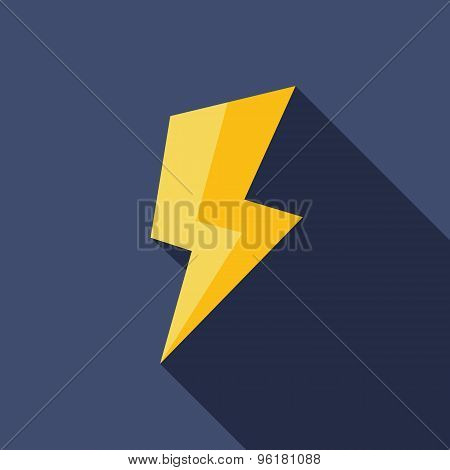 Lightning Icon. Flat Vector Icon With Long Shadow Design Collection.