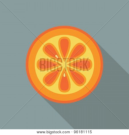Orange Slice Icon. Flat Vector Icon With Long Shadow Design Collection.