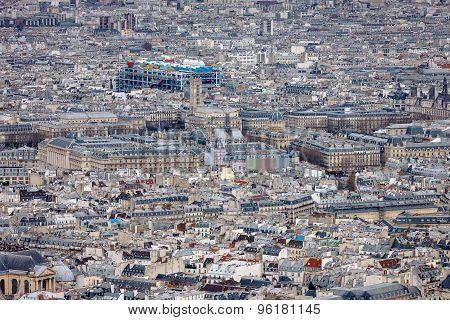 Aerial View Of Central Paris With Centre Georges Pompidou, France