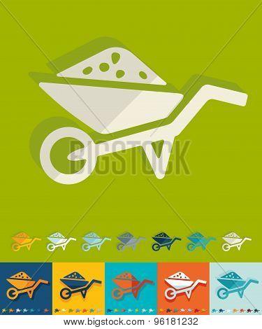 Flat design. garden wheelbarrow