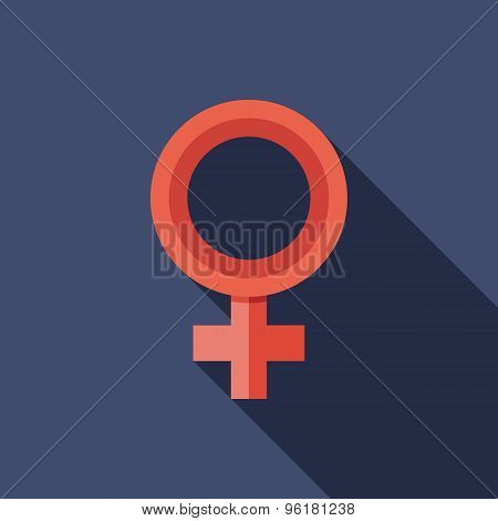 Female Gender Symbol Icon. Flat Vector Icon With Long Shadow Design Collection.