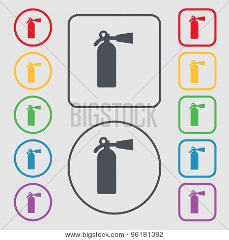 Extinguisher Icon Sign. Symbol On The Round And Square Buttons With Frame. Vector