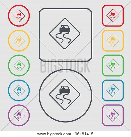 Road Slippery Icon Sign. Symbol On The Round And Square Buttons With Frame. Vector