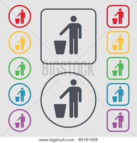 Throw Away The Trash Icon Sign. Symbol On The Round And Square Buttons With Frame. Vector