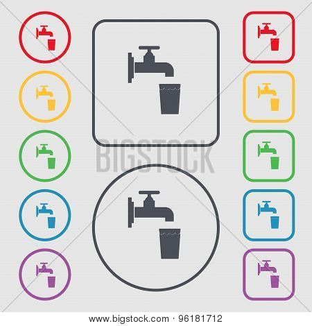 Faucet, Glass, Water Icon Sign. Symbol On The Round And Square Buttons With Frame. Vector