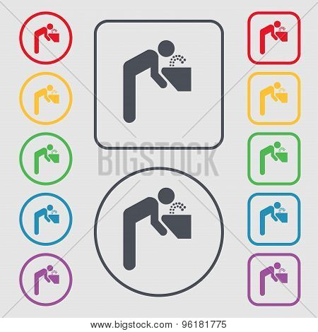Drinking Fountain Icon Sign. Symbol On The Round And Square Buttons With Frame. Vector