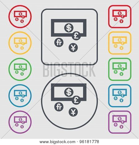 Currencies Of The World Icon Sign. Symbol On The Round And Square Buttons With Frame. Vector